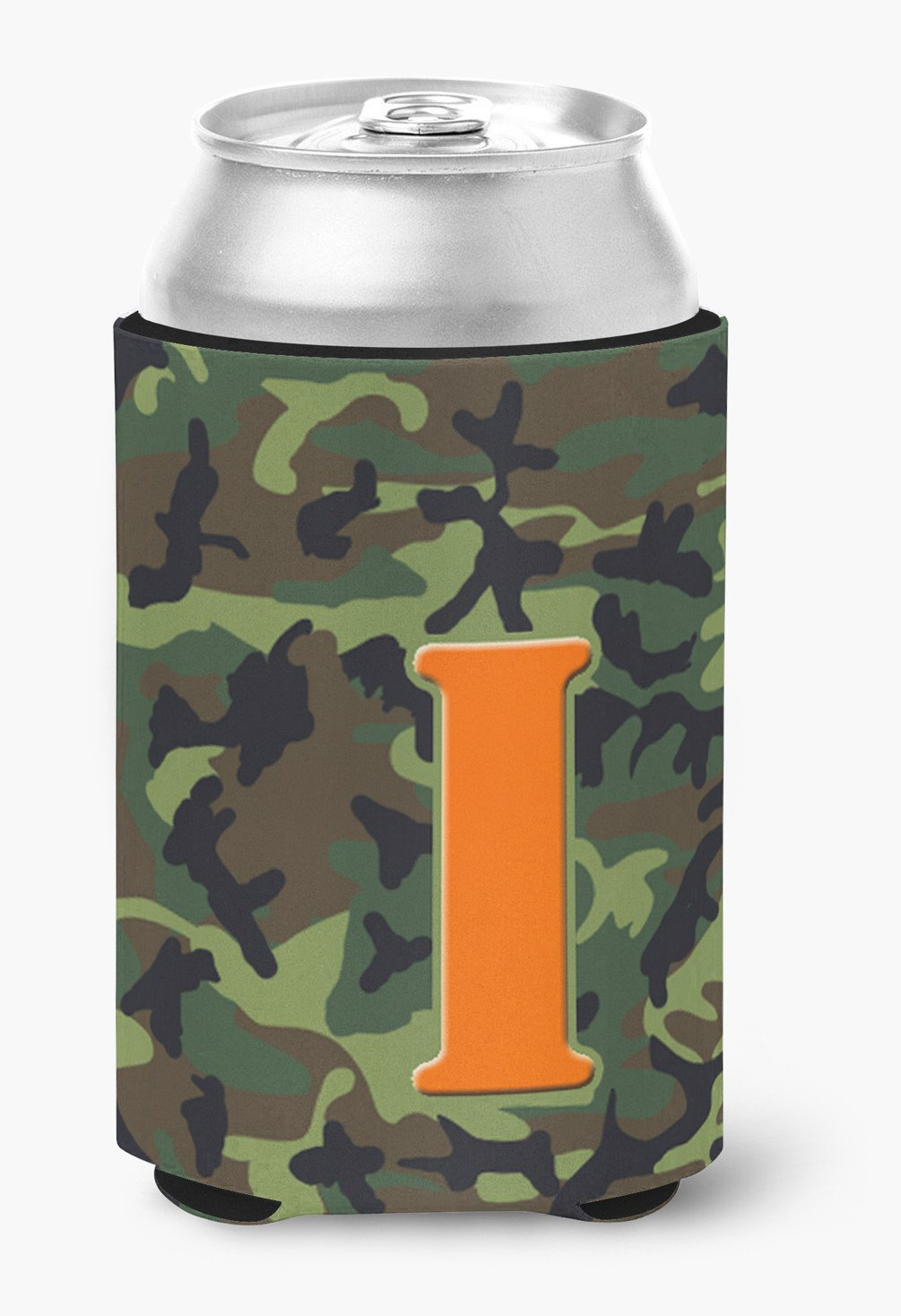 Letter I Initial Monogram - Camo Green Can or Bottle Beverage Insulator Hugger by Caroline's Treasures