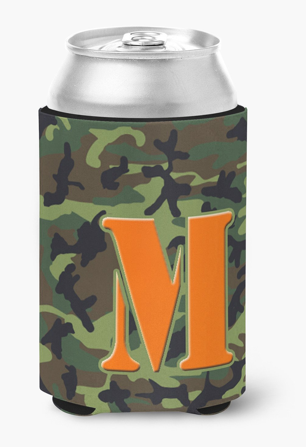 Letter M Initial Monogram Camo Green Can Or Bottle