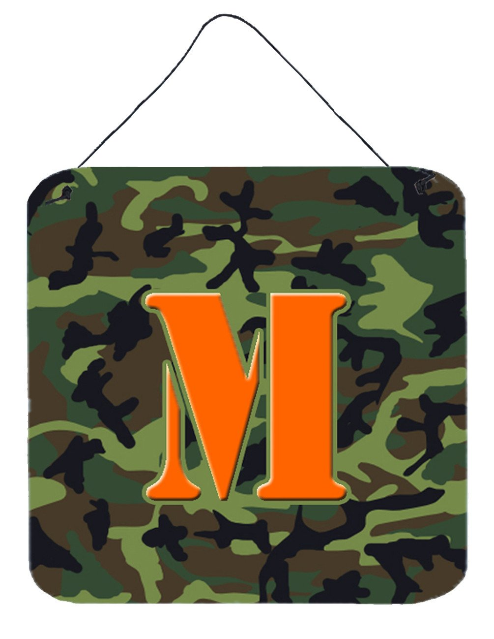 Letter M Initial Monogram - Camo Green Wall or Door Hanging Prints by Caroline's Treasures