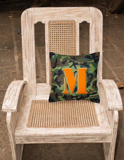 Monogram Initial M Camo Green Decorative   Canvas Fabric Pillow CJ1030