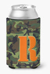 Letter R Initial Monogram - Camo Green Can or Bottle Beverage Insulator Hugger by Caroline's Treasures