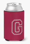 Letter G Initial Monogram - Maroon and White Can or Bottle Beverage Insulator Hugger by Caroline's Treasures