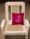 Monogram Initial J Maroon and White Decorative   Canvas Fabric Pillow CJ1032 - the-store.com