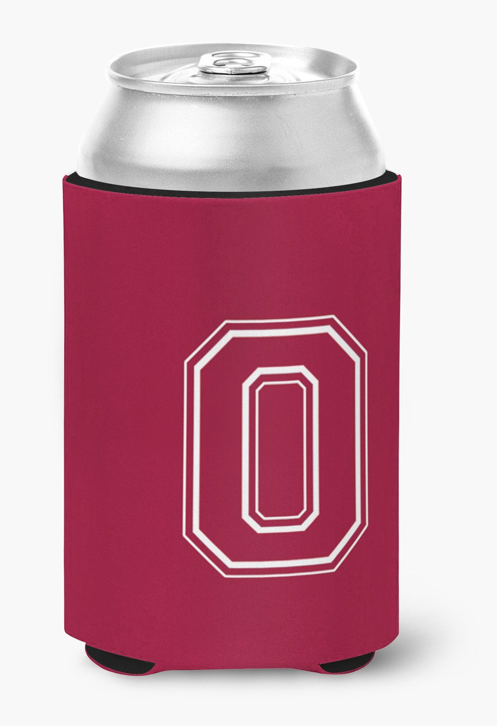 Letter O Initial Monogram - Maroon and White Can or Bottle Beverage Insulator Hugger by Caroline's Treasures