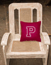 Monogram Initial P Maroon and White Decorative   Canvas Fabric Pillow CJ1032
