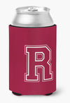 Letter R Initial Monogram - Maroon and White Can or Bottle Beverage Insulator Hugger by Caroline's Treasures