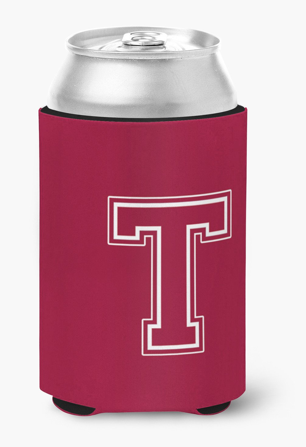 Letter T Initial Monogram - Maroon and White Can or Bottle Beverage Insulator Hugger by Caroline's Treasures