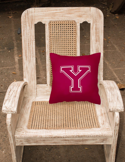 Monogram Initial Y Maroon and White Decorative   Canvas Fabric Pillow CJ1032