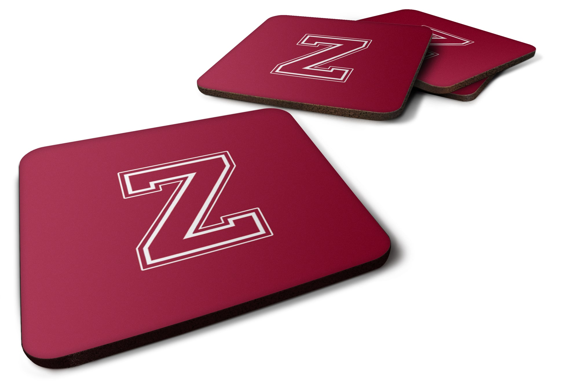 Set of 4 Monogram - Maroon and White Foam Coasters Initial Letter Z by Caroline's Treasures