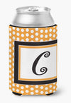 Letter C Initial Monogram - Orange Polkadots Can or Bottle Beverage Insulator Hugger by Caroline's Treasures