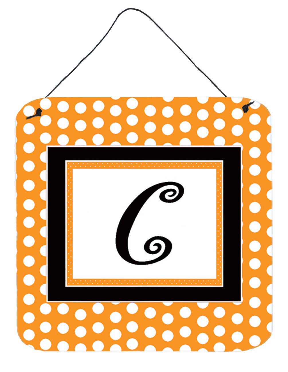 Letter C Initial Monogram - Orange Polkadots Wall or Door Hanging Prints by Caroline's Treasures