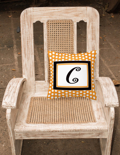Monogram Initial C Orange Polkadots Decorative   Canvas Fabric Pillow CJ1033