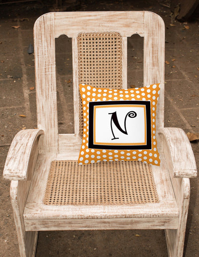 Monogram Initial N Orange Polkadots Decorative   Canvas Fabric Pillow CJ1033