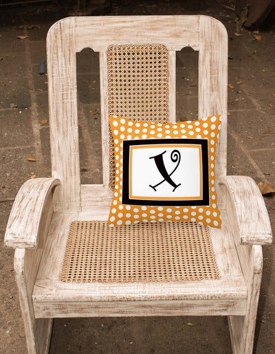 Monogram Initial X Orange Polkadots Decorative   Canvas Fabric Pillow CJ1033