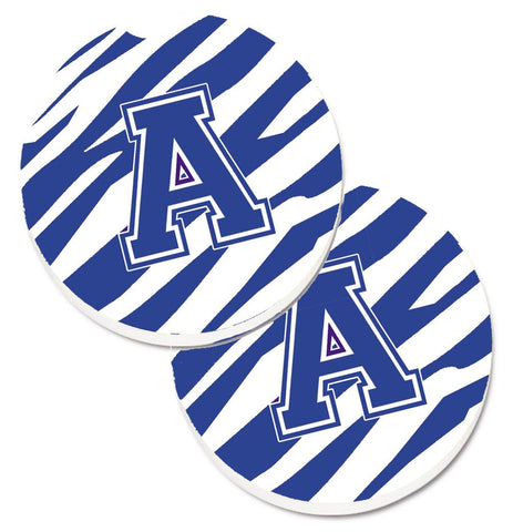 Buy this Letter A Monogram - Blue White Tiger Stripe Set of 2 Cup Holder Car Coasters CJ1034-ACARC