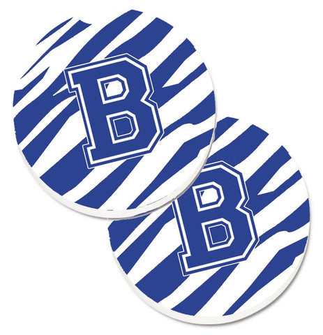 Buy this Monogram Initial B Tiger Stripe Blue and White Set of 2 Cup Holder Car Coasters CJ1034-BCARC