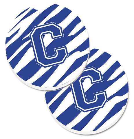 Buy this Monogram Initial C Tiger Stripe Blue and White Set of 2 Cup Holder Car Coasters CJ1034-CCARC