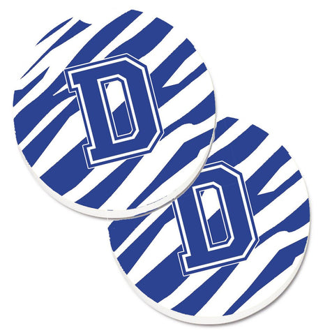 Buy this Monogram Initial D Tiger Stripe Blue and White Set of 2 Cup Holder Car Coasters CJ1034-DCARC