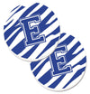 Monogram Initial E Tiger Stripe Blue and White Set of 2 Cup Holder Car Coasters CJ1034-ECARC by Caroline's Treasures