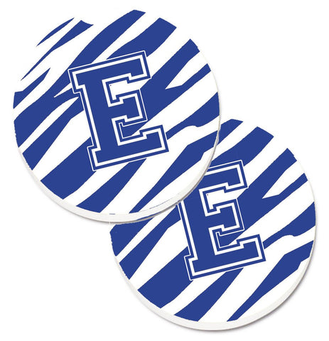 Buy this Monogram Initial E Tiger Stripe Blue and White Set of 2 Cup Holder Car Coasters CJ1034-ECARC
