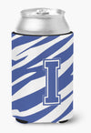 Buy this Letter I Initial Monogram - Tiger Stripe Blue and White Can Beverage Insulator Hugger