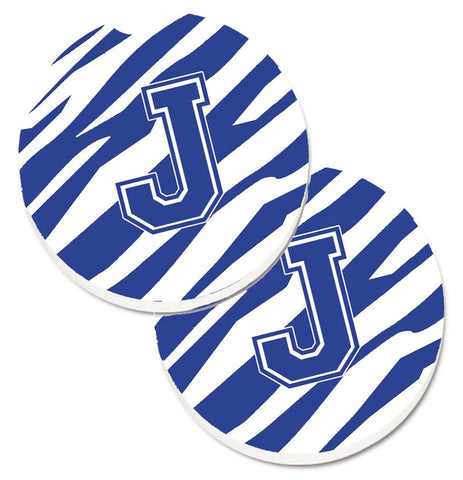 Buy this Monogram Initial J Tiger Stripe Blue and White Set of 2 Cup Holder Car Coasters CJ1034-JCARC
