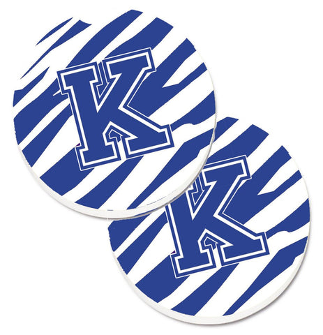 Buy this Monogram Initial K Tiger Stripe Blue and White Set of 2 Cup Holder Car Coasters CJ1034-KCARC
