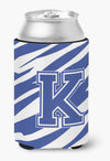 Letter K Initial Monogram - Tiger Stripe Blue and White Can Beverage Insulator Hugger by Caroline's Treasures