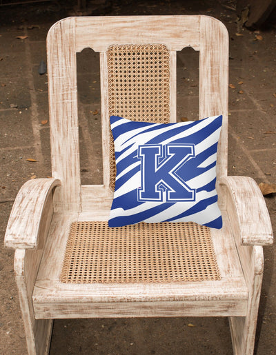 Monogram Initial K Tiger Stripe Blue and White Decorative Canvas Fabric Pillow