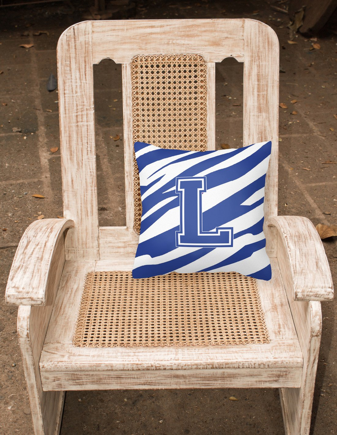 Monogram Initial L Tiger Stripe Blue and White Decorative Canvas Fabric Pillow - the-store.com