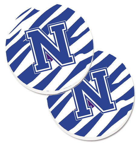 Buy this Monogram Initial N Tiger Stripe Blue and White Set of 2 Cup Holder Car Coasters CJ1034-NCARC