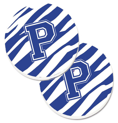Buy this Monogram Initial P Tiger Stripe Blue and White Set of 2 Cup Holder Car Coasters CJ1034-PCARC
