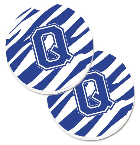 Buy this Monogram Initial Q Tiger Stripe Blue and White Set of 2 Cup Holder Car Coasters CJ1034-QCARC
