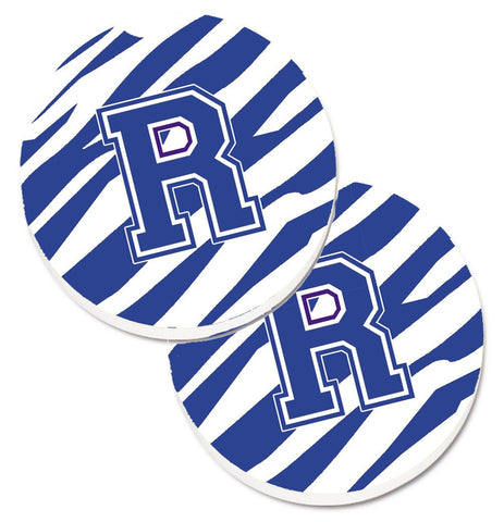 Buy this Monogram Initial R Tiger Stripe Blue and White Set of 2 Cup Holder Car Coasters CJ1034-RCARC