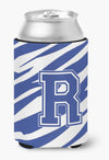 Buy this Letter R Initial Monogram - Tiger Stripe Blue and White Can Beverage Insulator Hugger