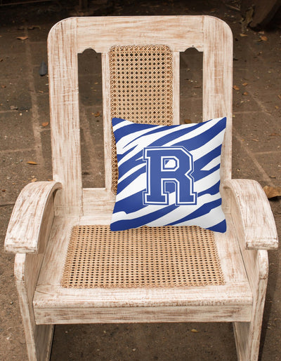 Monogram Initial R Tiger Stripe Blue and White Decorative  Canvas Fabric Pillow