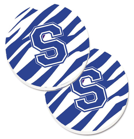 Buy this Monogram Initial S Tiger Stripe Blue and White Set of 2 Cup Holder Car Coasters CJ1034-SCARC