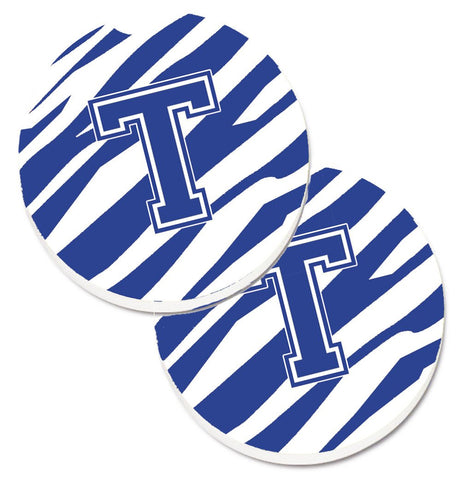 Buy this Monogram Initial T Tiger Stripe Blue and White Set of 2 Cup Holder Car Coasters CJ1034-TCARC