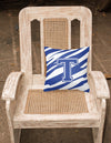 Monogram Initial T Tiger Stripe Blue and White Decorative Canvas Fabric Pillow by Caroline's Treasures