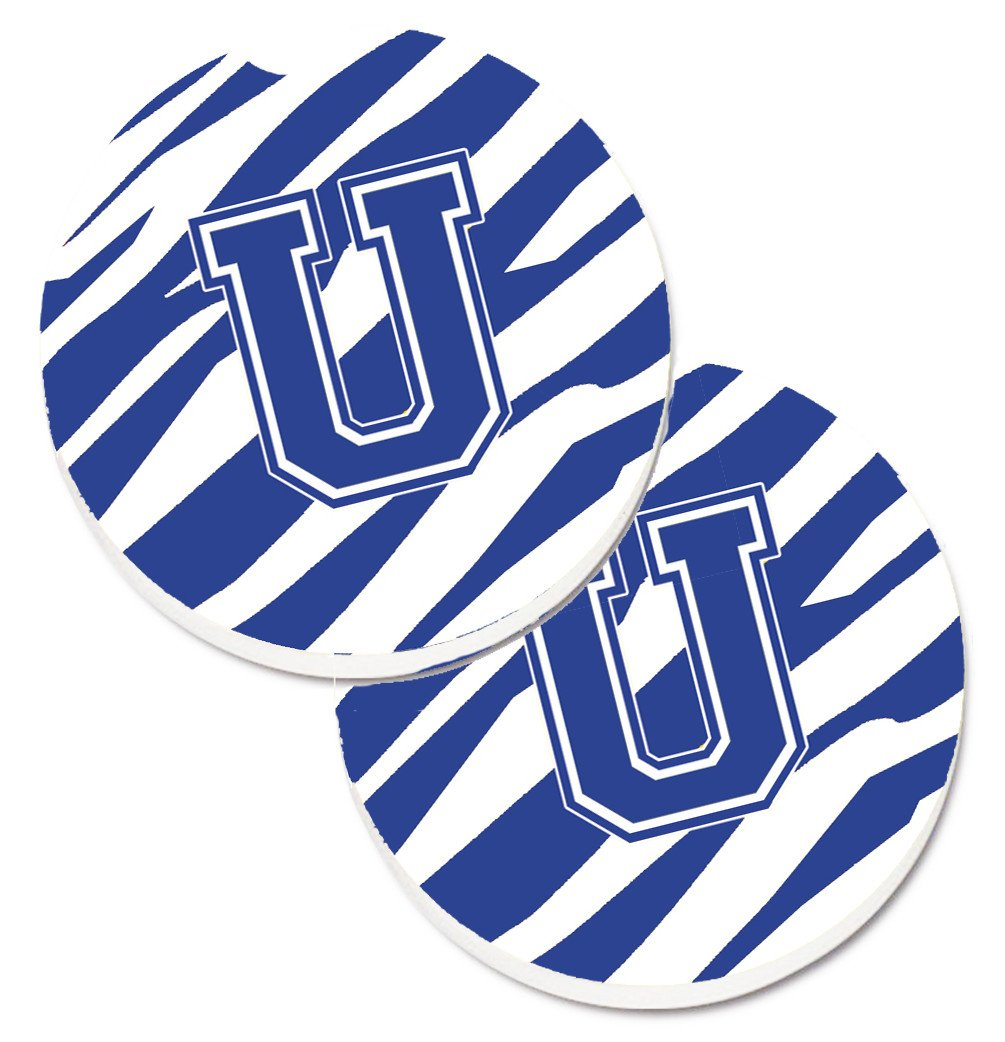 Buy this Monogram Initial U Tiger Stripe Blue and White Set of 2 Cup Holder Car Coasters CJ1034-UCARC