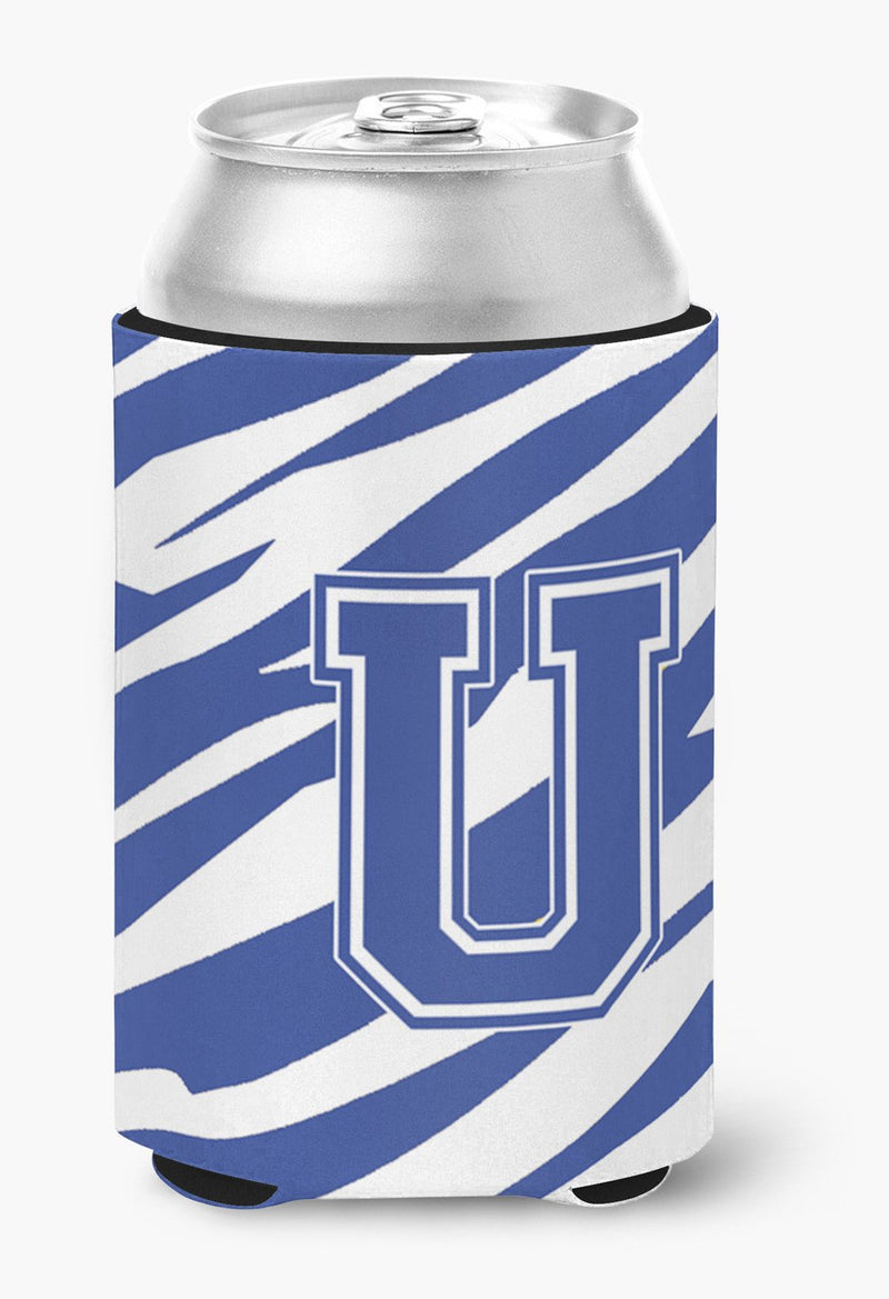 Buy this Letter U Initial Monogram - Tiger Stripe Blue and White Can Beverage Insulator Hugger
