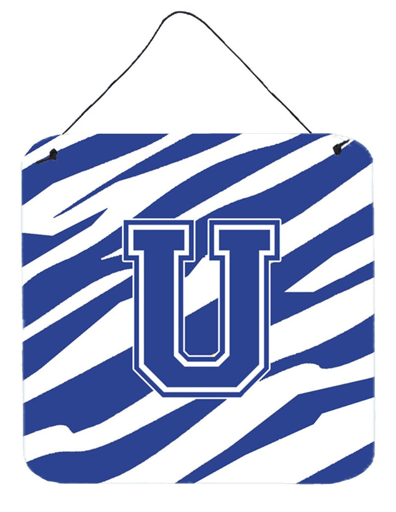Buy this Letter U Initial Tiger Stripe Blue and White Wall or Door Hanging Prints