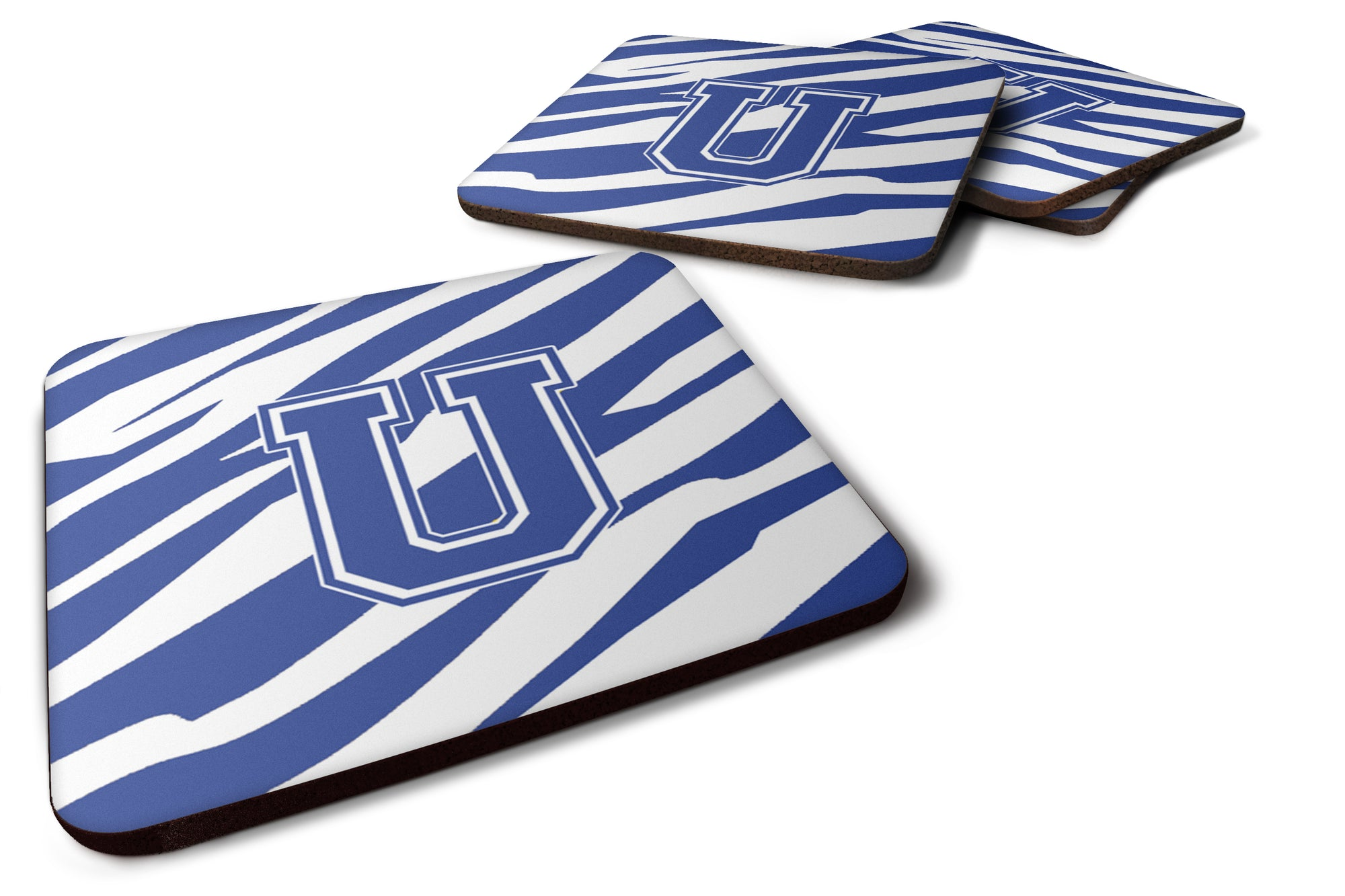 Buy this Set of 4 Monogram - Tiger Stripe Blue and White Foam Coasters Initial Letter U