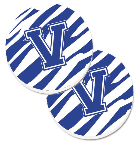 Buy this Monogram Initial V Tiger Stripe Blue and White Set of 2 Cup Holder Car Coasters CJ1034-VCARC