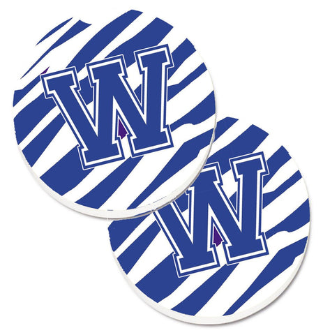 Buy this Monogram Initial W Tiger Stripe Blue and White Set of 2 Cup Holder Car Coasters CJ1034-WCARC