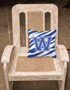 Monogram Initial W Tiger Stripe Blue and White Decorative Canvas Fabric Pillow - the-store.com