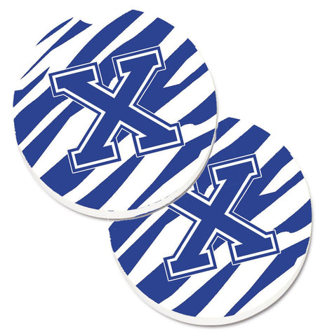 Buy this Monogram Initial X Tiger Stripe Blue and White Set of 2 Cup Holder Car Coasters CJ1034-XCARC