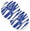 Monogram Initial Y Tiger Stripe Blue and White Set of 2 Cup Holder Car Coasters CJ1034-YCARC by Caroline's Treasures