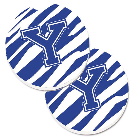 Buy this Monogram Initial Y Tiger Stripe Blue and White Set of 2 Cup Holder Car Coasters CJ1034-YCARC