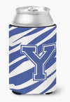 Letter Y Initial Monogram - Tiger Stripe Blue and White Can Beverage Insulator Hugger by Caroline's Treasures